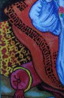 empress' pillows on throne detail